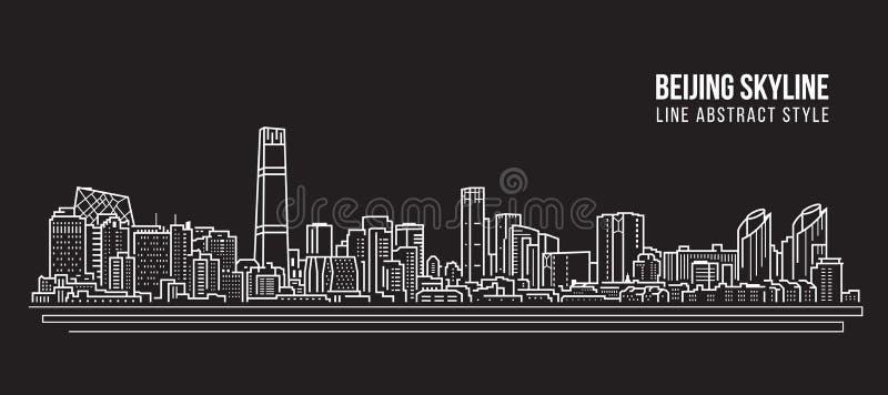 Línea de fachada del paisaje urbano diseño del ejemplo del vector del arte - horizonte de la ciudad de Pekín libre illustration