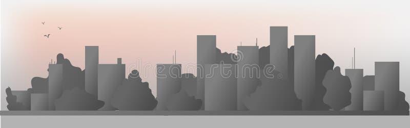 Línea de fachada del paisaje urbano diseño del ejemplo del vector del arte de la salida del sol ilustración del vector