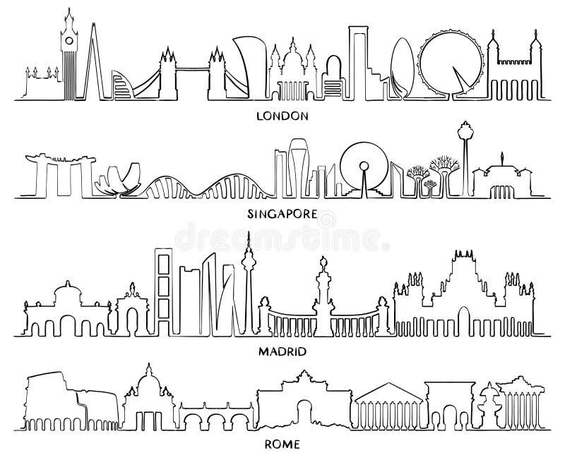 Línea de fachada del paisaje urbano, diseño Londres, pecado del ejemplo del vector stock de ilustración