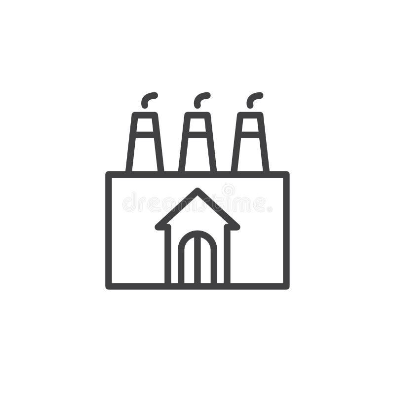 Línea de fachada de la fábrica icono ilustración del vector