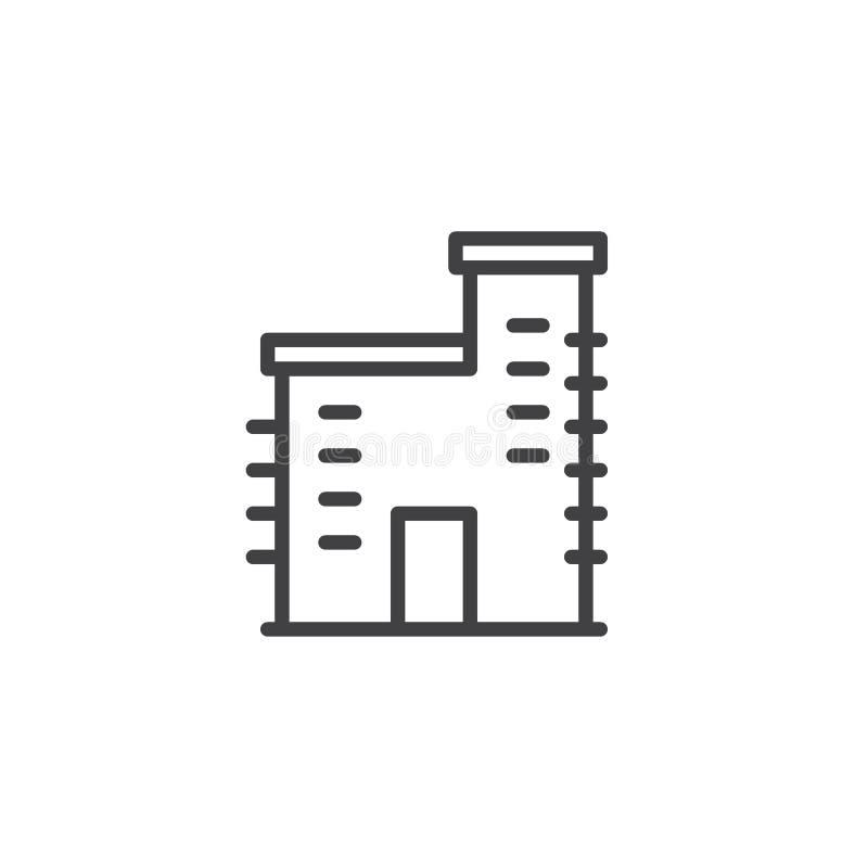 Línea de fachada de la fábrica icono libre illustration