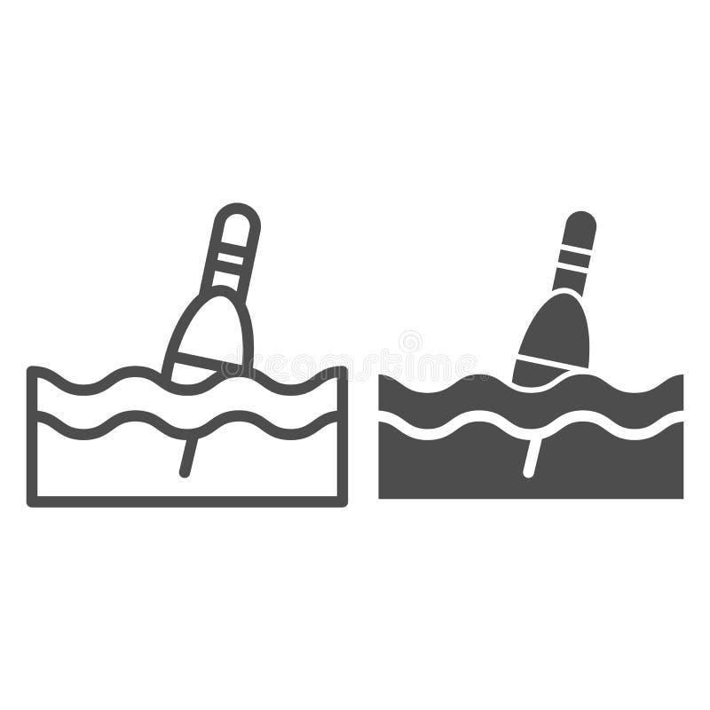 Línea de flotación e icono del glyph Ejemplo del vector del Bobber aislado en blanco Diseño del estilo del esquema que pesca con  stock de ilustración