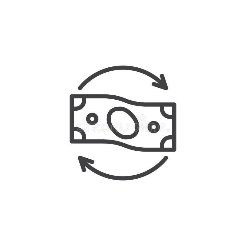 Línea de flujo de dinero icono stock de ilustración