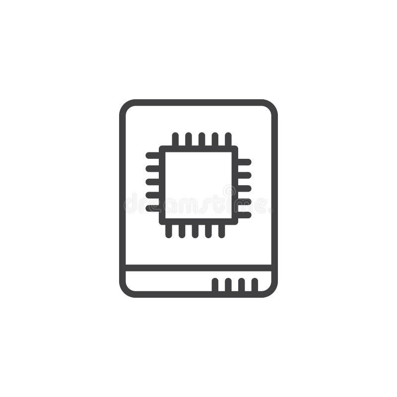 Línea de impulsión de estado sólido icono, muestra del vector del esquema, pictograma linear del estilo aislado en blanco stock de ilustración