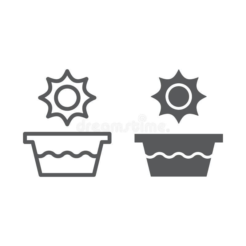 Línea de la agua caliente e icono del glyph, temperatura y lavado, muestra del lavabo, gráficos de vector, un modelo linear en un ilustración del vector