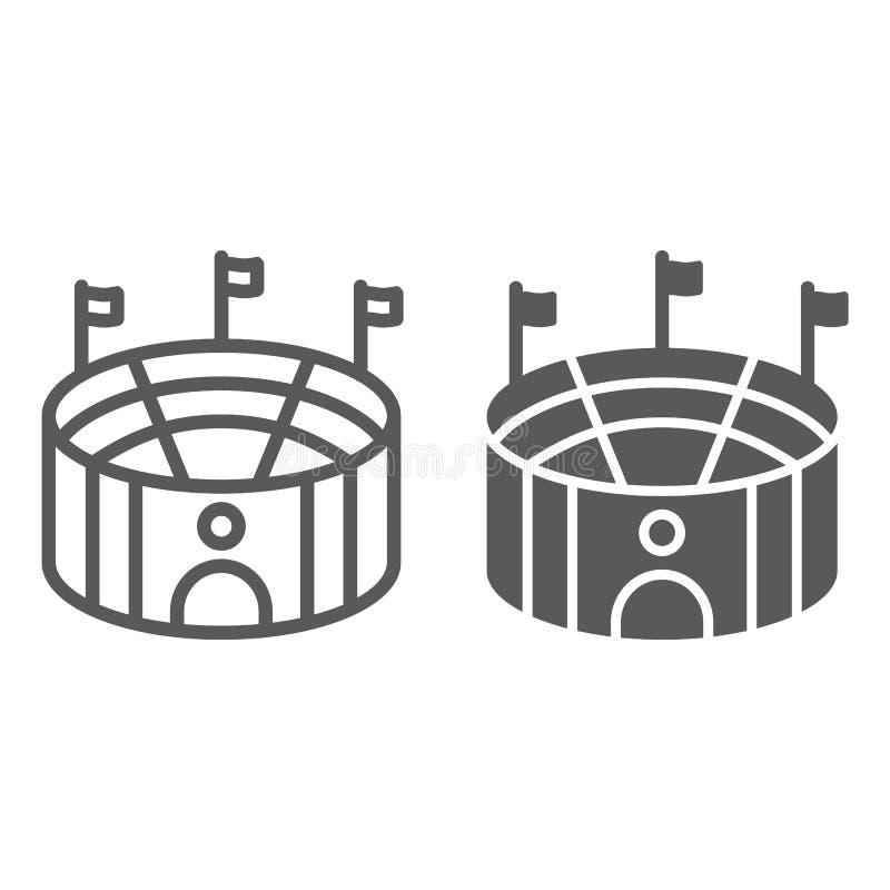 Línea de la arena del fútbol e icono del glyph, deporte y campo, muestra del estadio, gráficos de vector, un modelo linear en un  ilustración del vector
