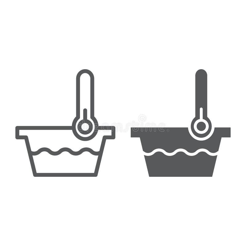 Línea de la baja temperatura y muestra del icono, del indicador y del lavado, del termómetro y del lavabo del glyph, gráficos de  libre illustration
