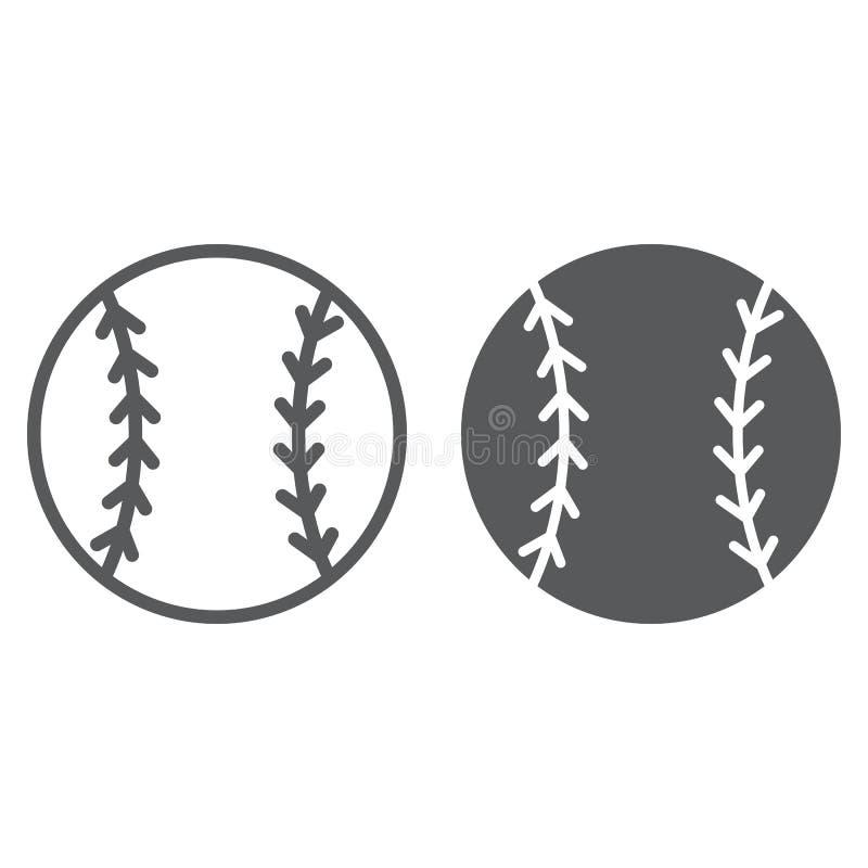 Línea de la bola del béisbol e icono del glyph, juego y deporte, muestra de la bola, gráficos de vector, un modelo linear en un f libre illustration