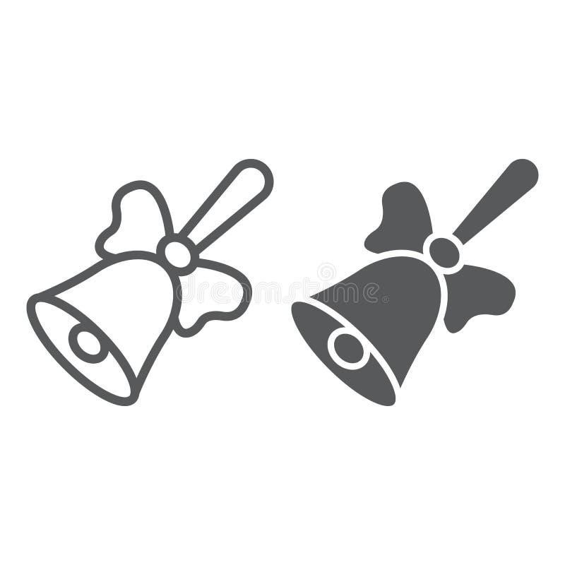 Línea de la campana de escuela e icono del glyph, escuela y educación, gráficos de vector de la muestra del anillo, un modelo lin stock de ilustración