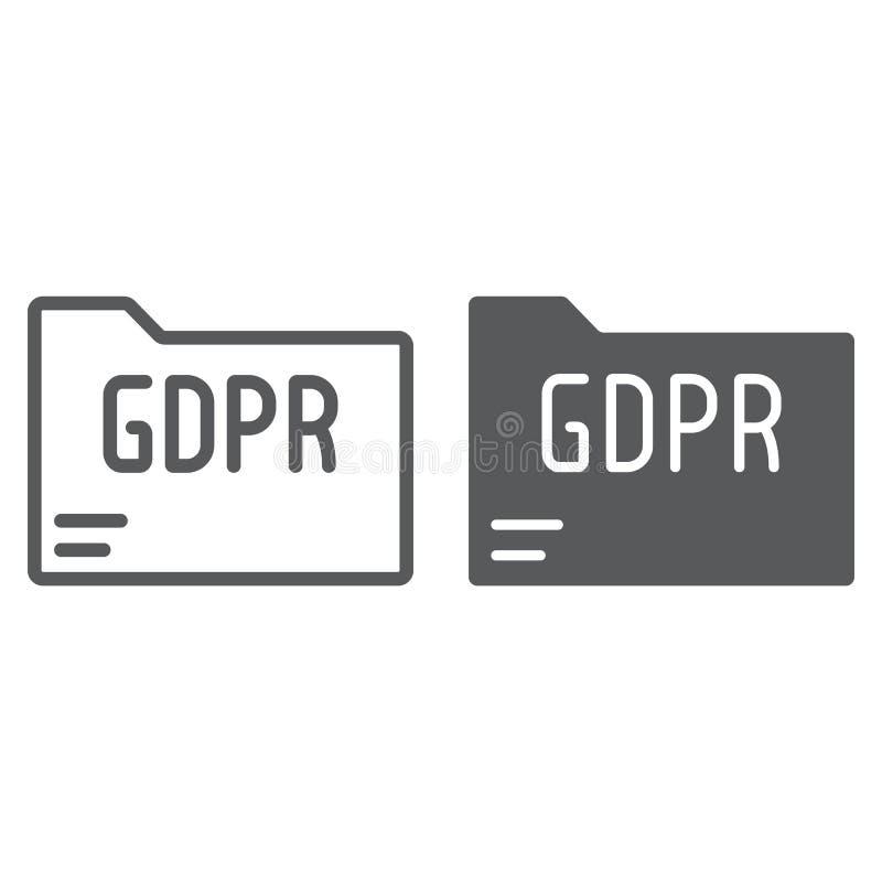 L?nea de la carpeta de Gdpr e icono del glyph, informaci?n y documento, muestra del fichero, gr?ficos de vector, un modelo linear stock de ilustración