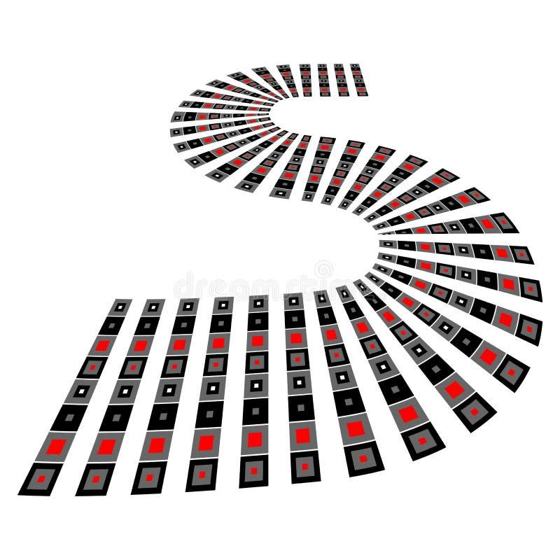 Línea de la carretera con curvas elemento S-formado del diseño ilustración del vector