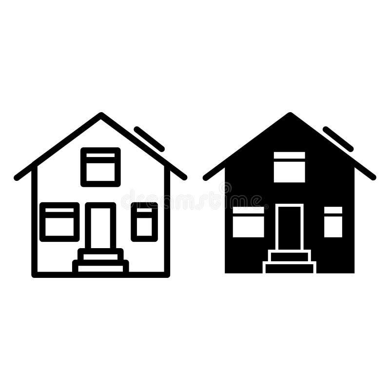 Línea de la casa e icono suburbanos del glyph Ejemplo exterior del vector de la casa aislado en blanco Diseño del estilo del esqu libre illustration