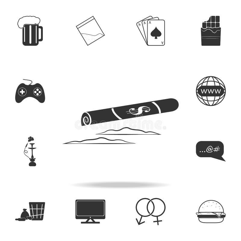 Línea de la cocaína e iconSet rodado del dólar del icono humano de la debilidad y del elemento del apego Diseño gráfico de la cal ilustración del vector