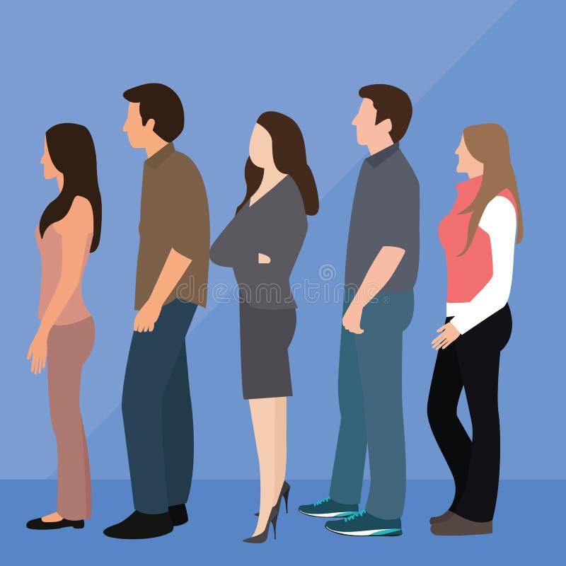 Línea de la cola de la mujer del hombre del grupo de personas que se coloca que espera ilustración del vector