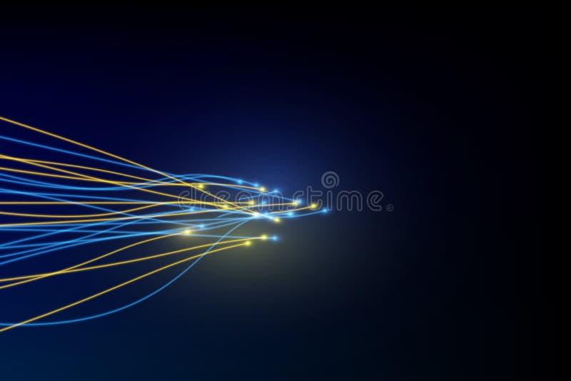 Línea de la conexión en fondo del concepto de la telecomunicación del establecimiento de una red de la fibra óptica ilustración del vector