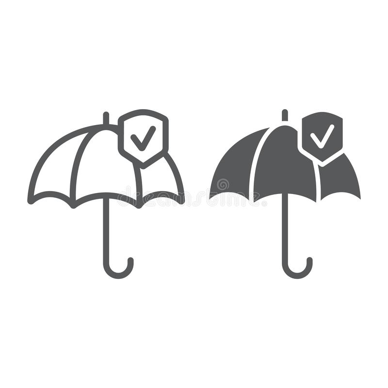 Línea de la confiabilidad e icono del glyph, protección y confiable, muestra del paraguas, gráficos de vector, un modelo linear e libre illustration