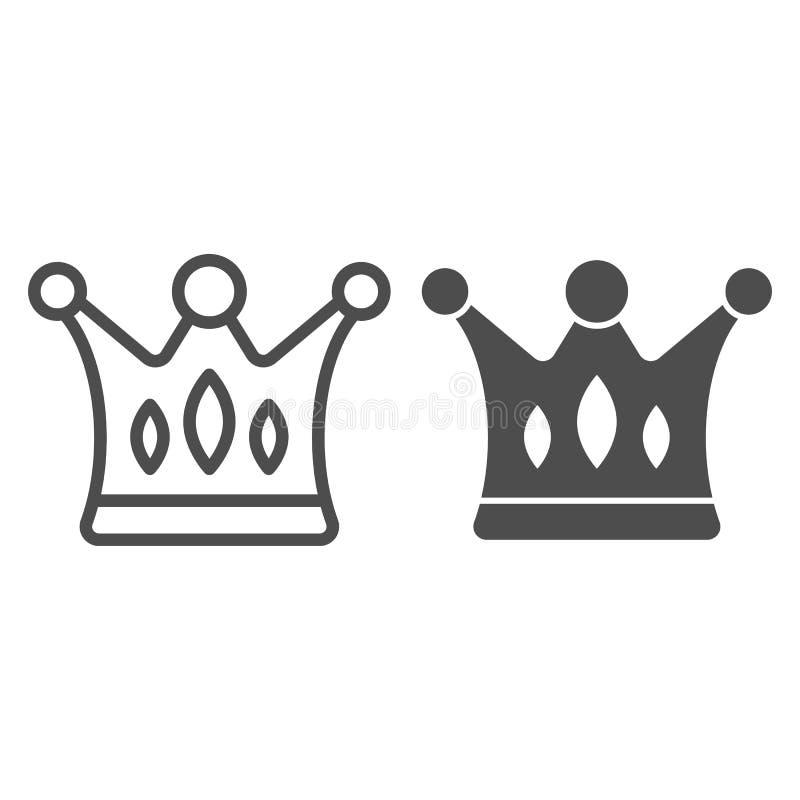 Línea de la corona e icono del glyph Ejemplo majestuoso del vector aislado en blanco Diseño del estilo del esquema de los derecho ilustración del vector