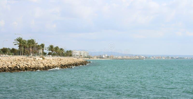 Línea de la costa de Palma de Mallorca con las palmas imágenes de archivo libres de regalías