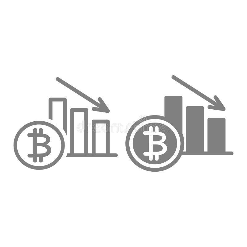 Línea de la disminución de la tarifa de Bitcoin e icono del glyph El gráfico de Cryptocurrency abajo vector el ejemplo aislado en stock de ilustración