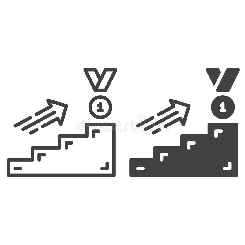Línea de la escalera de la carrera e icono sólido, esquema y pictograma llenado de la muestra del vector, linear y lleno aislados ilustración del vector