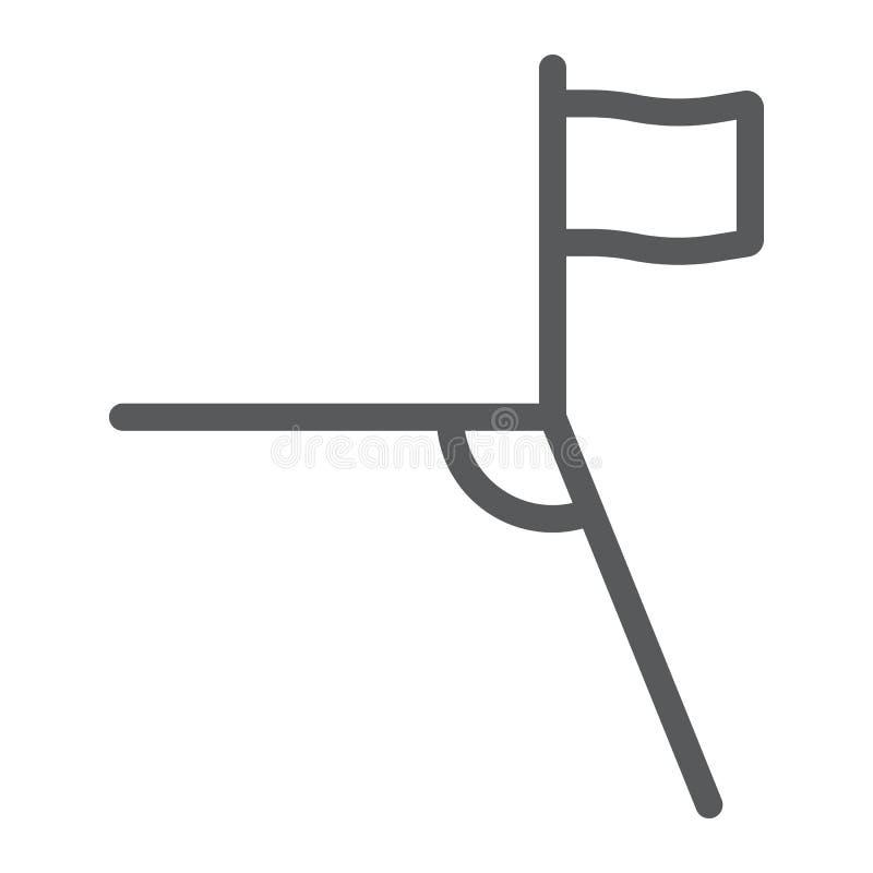 Línea de la esquina icono del fútbol, deporte y campo, muestra de la esquina del fútbol, gráficos de vector, un modelo linear en  libre illustration
