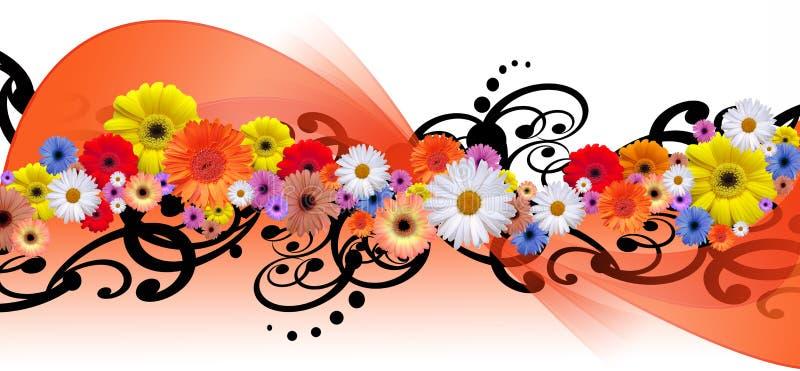 Línea de la flor stock de ilustración