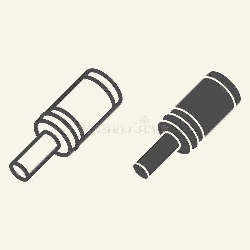 Línea de la granada e icono del glyph Estalle el ejemplo del vector aislado en blanco Diseño del estilo del esquema de la bomba,  stock de ilustración