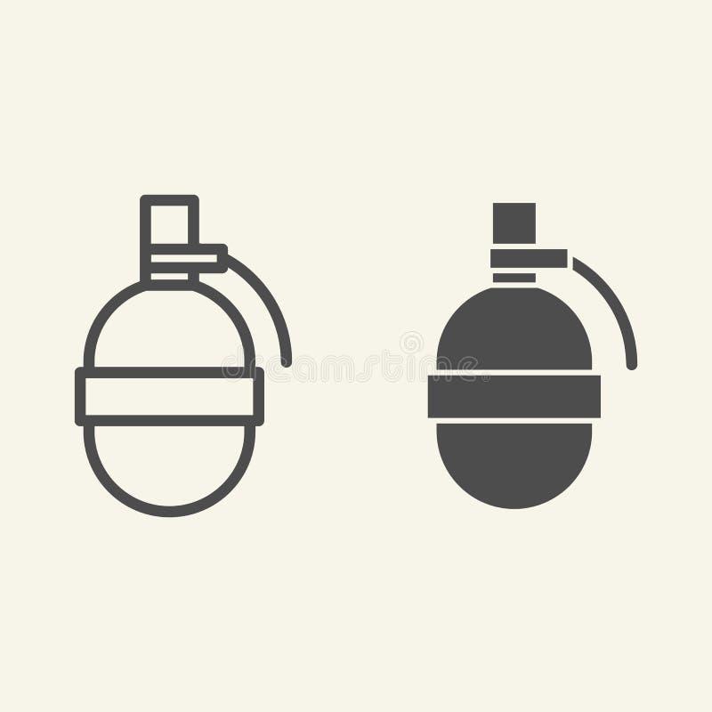 Línea de la granada e icono del glyph Estalle el ejemplo del vector aislado en blanco Diseño del estilo del esquema de la bomba,  ilustración del vector