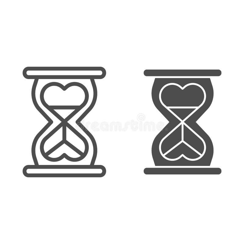 Línea de la hora en forma de corazón e icono de cristal del glyph Ejemplo del vector del amor del infinito aislado en blanco Esqu libre illustration
