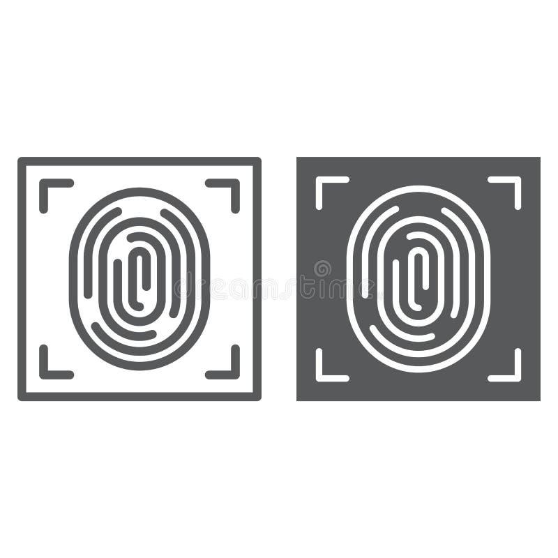 Línea de la huella dactilar e icono del glyph, identificación y seguridad, muestra de la impresión, gráficos de vector, un modelo libre illustration