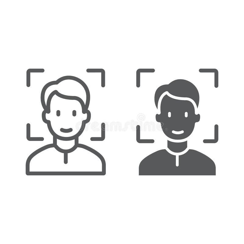 Línea de la identificación de la cara e icono del glyph, reconocimiento de cara e identificación de la cara, muestra de la explor ilustración del vector