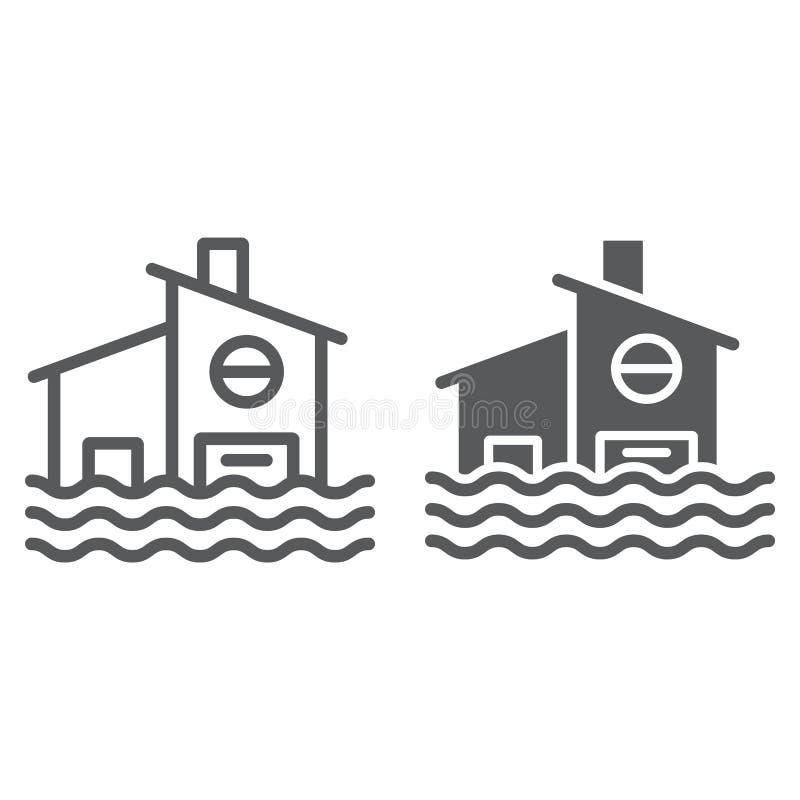 Línea de la inundación e icono del glyph, desastre y hogar, muestra inundada de la casa, gráficos de vector, un modelo linear en  libre illustration