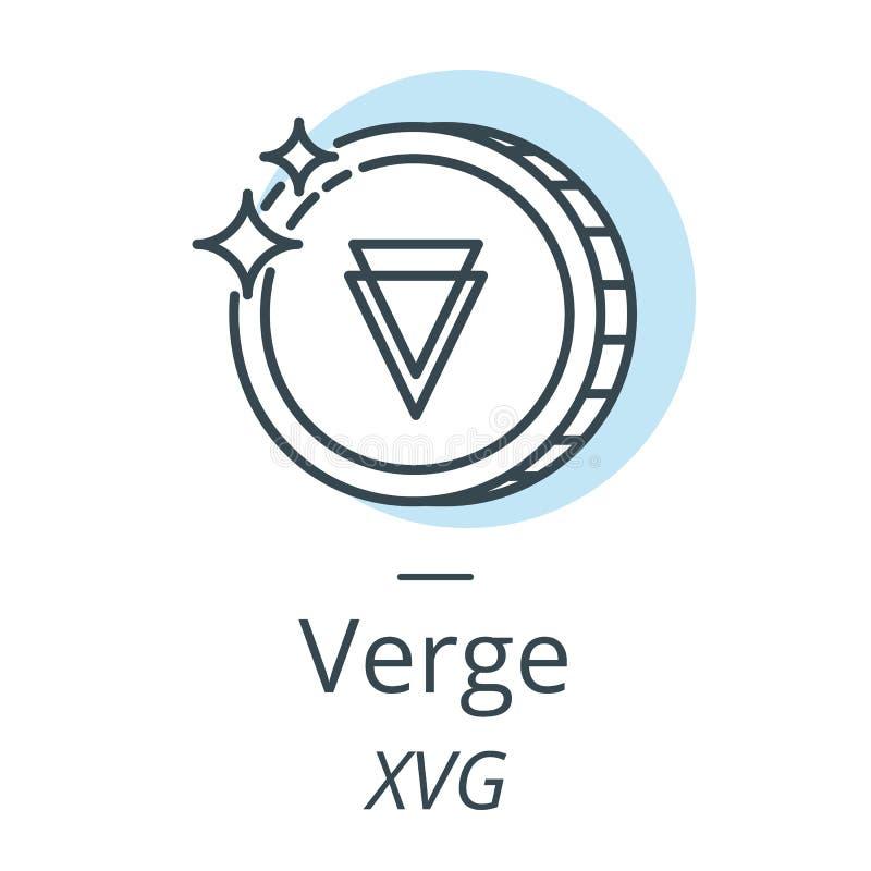 Línea de la moneda del cryptocurrency del borde, icono de la moneda virtual ilustración del vector
