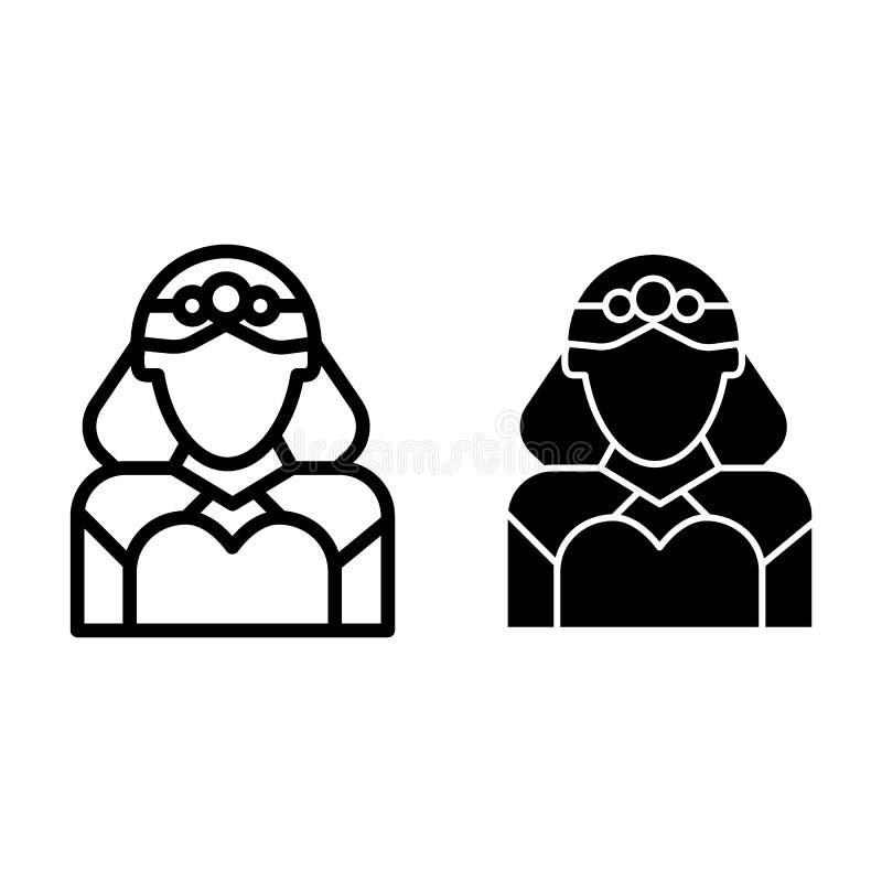 Línea de la novia e icono del glyph Ejemplo del vector de la boda aislado en blanco Diseño del estilo del esquema de la esposa, d stock de ilustración