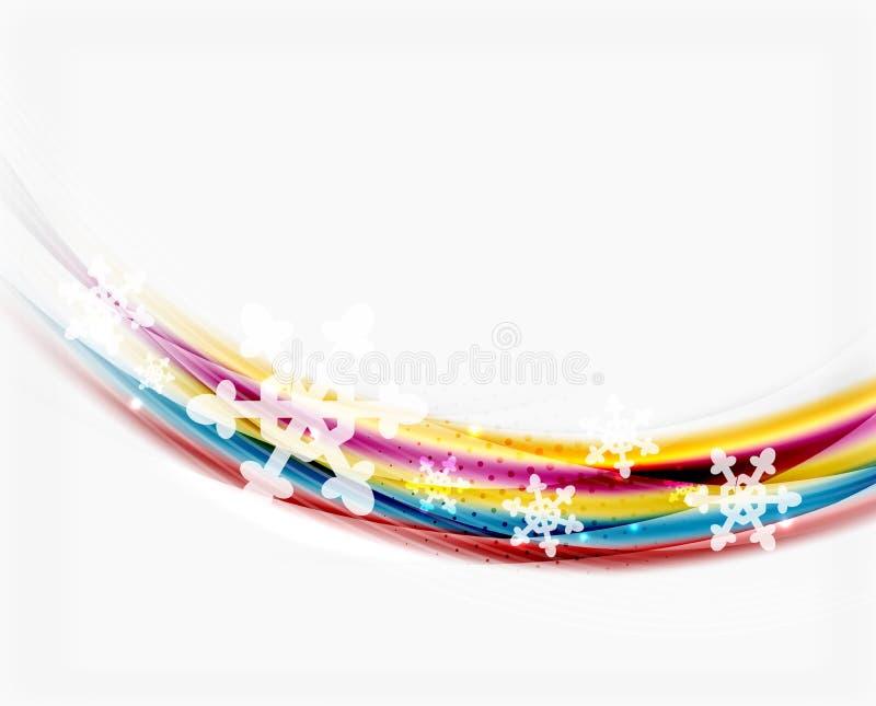 Línea de la onda con los copos de nieve Fondo abstracto de la Navidad libre illustration