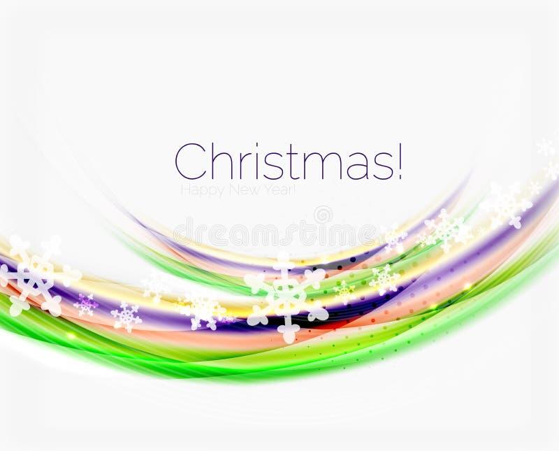 Línea de la onda con los copos de nieve Fondo abstracto de la Navidad stock de ilustración