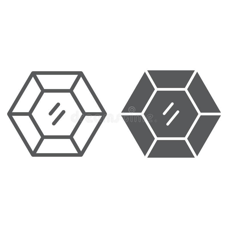 Línea de la piedra preciosa e icono precioso del glyph, joyería y diamante, muestra brillante, gráficos de vector, un modelo line stock de ilustración