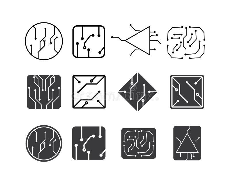 línea de la placa de circuito, CPU, vector del ejemplo del logotipo del icono del microprocesador stock de ilustración