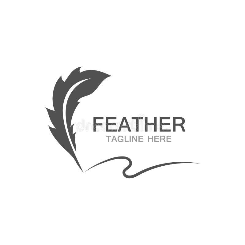 línea de la plantilla del vector del logotipo de la pluma stock de ilustración