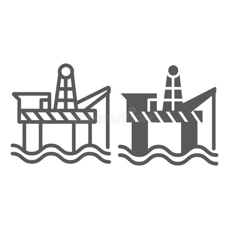 Línea de la plataforma petrolera e icono del glyph, industria y mar, muestra de la plataforma petrolera, gráficos de vector, un m libre illustration
