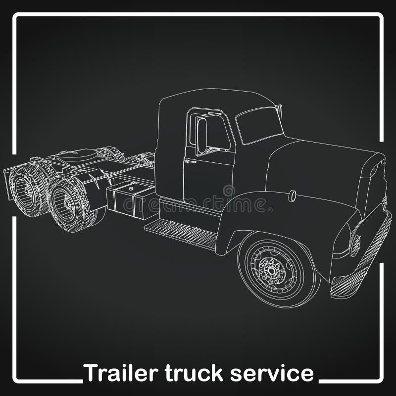 Línea de la raya del camión de remolque stock de ilustración