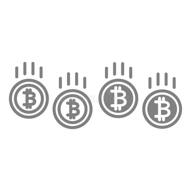 Línea de la reducción de precio de Bitcoin e icono del glyph Ejemplo del vector del desplome de Cryptocurrency aislado en blanco  stock de ilustración
