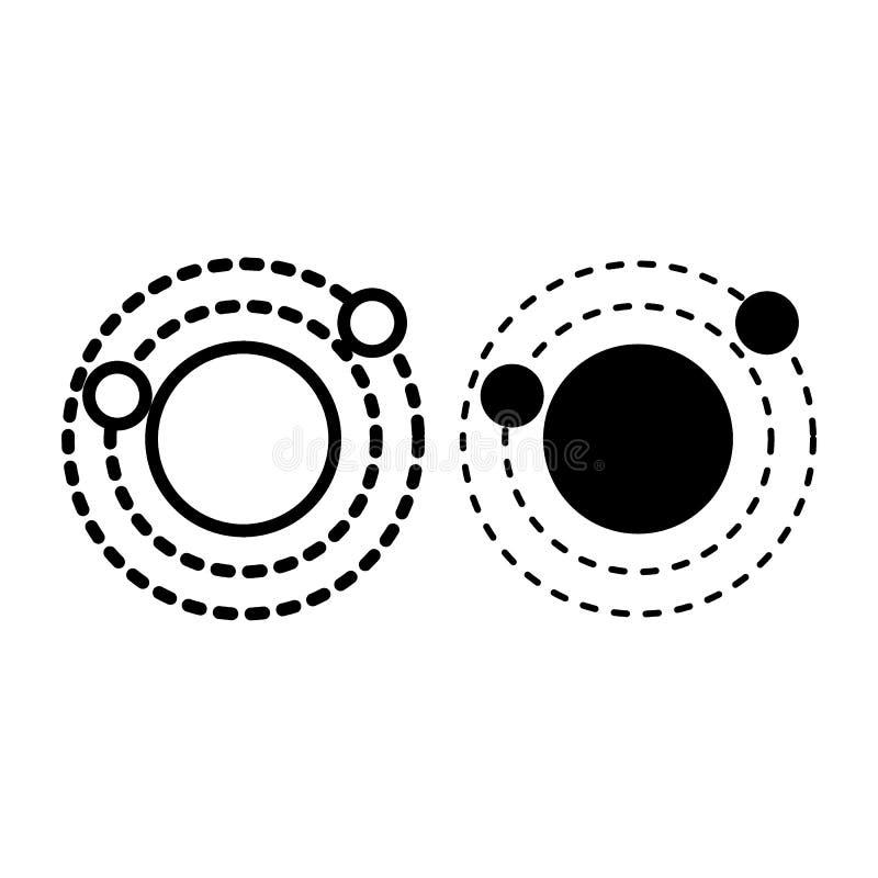 Línea de la Sistema Solar e icono del glyph Ejemplo del vector de la órbita aislado en blanco Diseño del estilo del esquema de la stock de ilustración