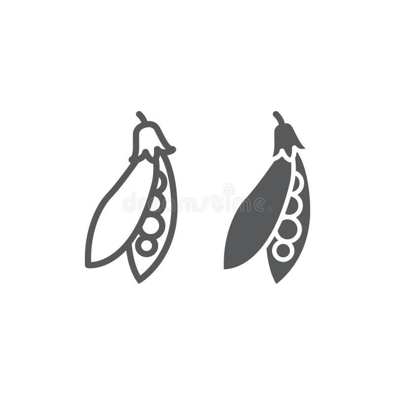 Línea de la vaina de guisante e icono del glyph, verdura libre illustration