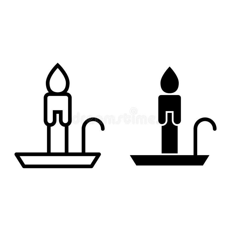 Línea de la vela e icono del glyph Ejemplo del vector del web de la llama aislado en blanco Diseño del estilo del esquema de la p libre illustration
