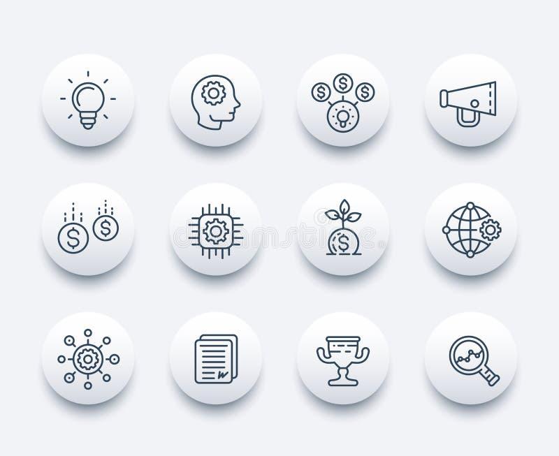 Línea de lanzamiento iconos fijados stock de ilustración
