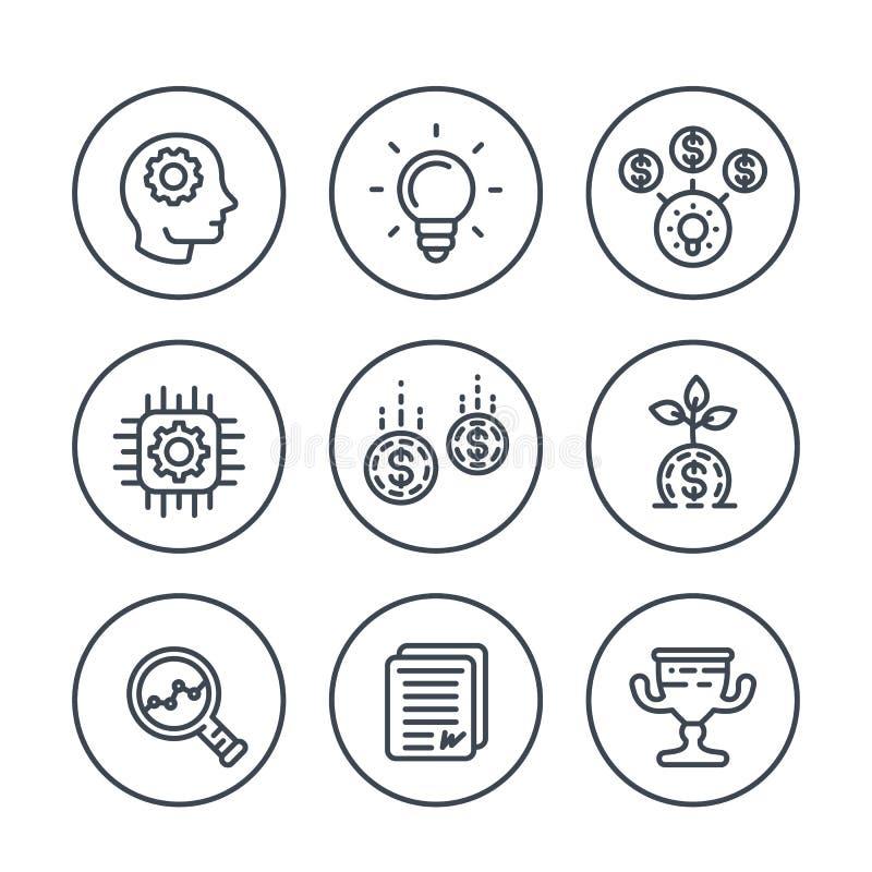 Línea de lanzamiento iconos, idea, capital, financiando ilustración del vector