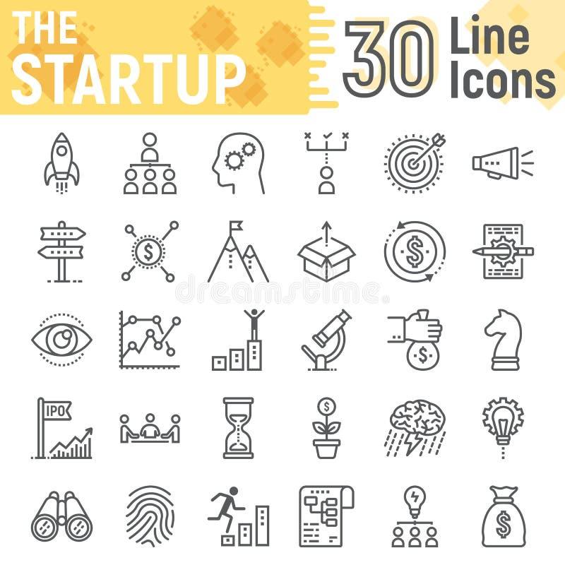Línea de lanzamiento sistema del icono, símbolos del desarrollo ilustración del vector