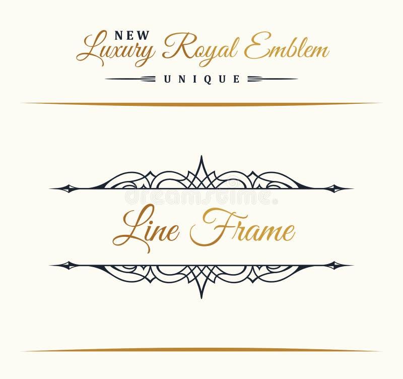 Línea de lujo caligráfica logotipo Prospera el monograma elegante del emblema Diseño real del divisor del vintage libre illustration