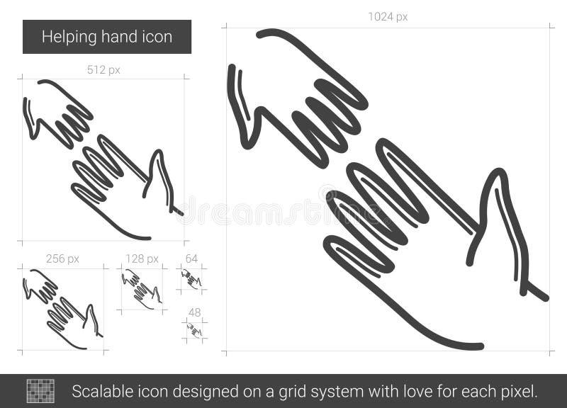 Línea de mano amiga icono ilustración del vector